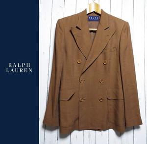 【着回しコーデに◎】Ralph Lauren(ラルフローレン)6Bダブルジャケット|ブラウン系|サイズ:9号(身長:160cm・肩幅:42cm)|麻レーヨン|USED|682222775010