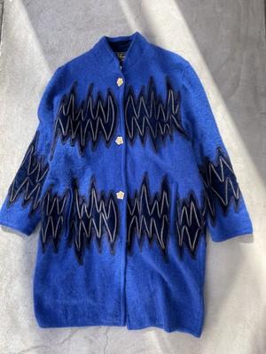 80's vintage mohair coat - blue -