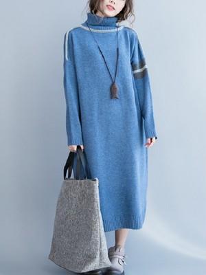 【dress】Thin winter loose high collar long knit dress