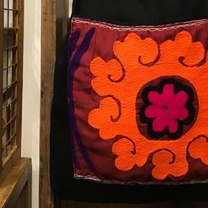アフガニスタン刺繍付きバッグ オリジナルトートバッグ 前ポケット付きトートバッグ