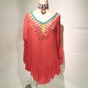 Clochet Cotton Tunic / Salmon Pink