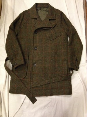 BRITISH WOOL CHECK HOSPITAL COAT(votole)