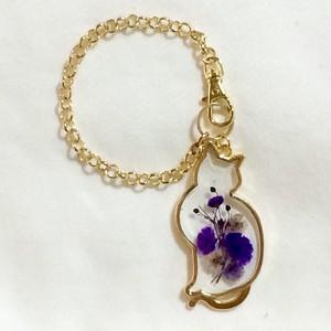 猫のバッグチャーム(紫)