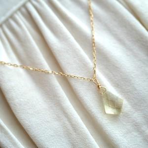 レモンクォーツ 変形ひし形カット K18 チェーン ネックレス