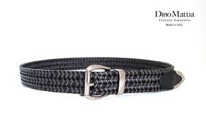 ディノマッティア|Dino Mattia|レザーメッシュベルト|85|ブラック×グレイ