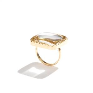 水晶ゴールドフレームリング / 四角型
