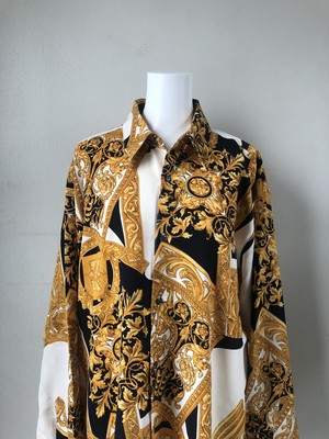 USED / antique pattern polyester shirts