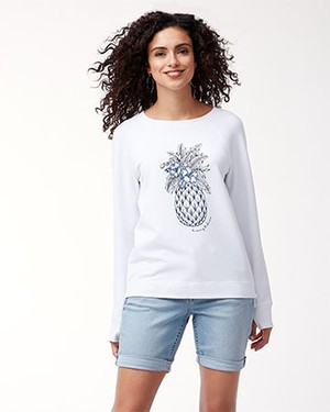 JEN & TERRY PINEAPPLE CREW/WHITE