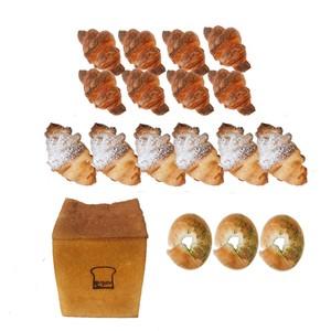 モリ食パン1斤&ミニクロワッサン8個&クッキークロワッサン 6個&抹茶ホワイトチョコベーグル3個