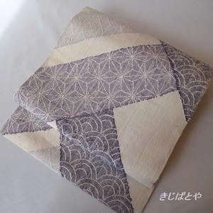 正絹紬 白地に紫の切り替えのなごや