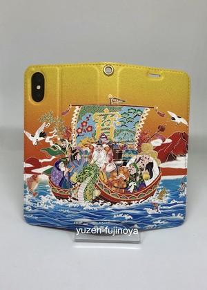 手描友禅 手帳型スマートフォンケース 帯なし 七福神 宝船