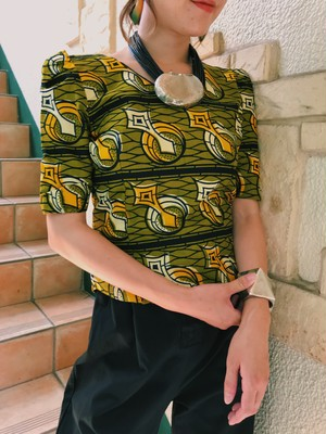 Vintage african batik green × yellow cotton tops ( ヴィンテージ  アフリカンバティック グリーン × イエロー コットン トップス