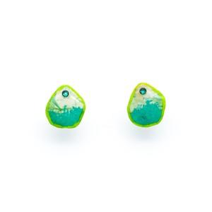 """Colorful"" japanesepaper pierced earrings  ◼︎green"