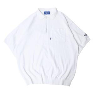 HALF ZIP KNIT POLO【WHITE】
