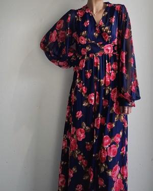 usa vintage floral pattern maxi dress
