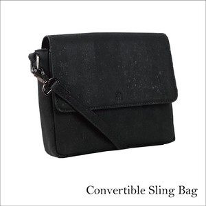 VEGAN CORK CONVERTIBLE SLING  BLACK / ショルダーバッグ 2way コルク製 斜め掛け