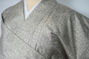 紬 正絹 花柄 グレー 053