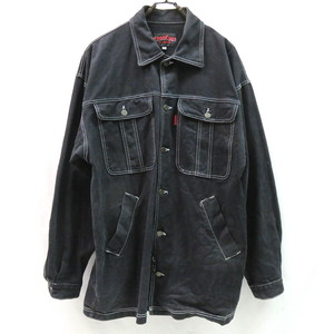 90's OVERSIZED BLACK DENIM JACKET MADE IN U.S.A.