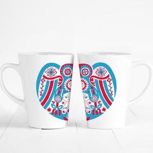 「リンゴフクロウ」マグカップ (ブルーXレッド)