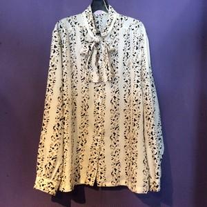 80's white×beige pattern design blouse [B1917]