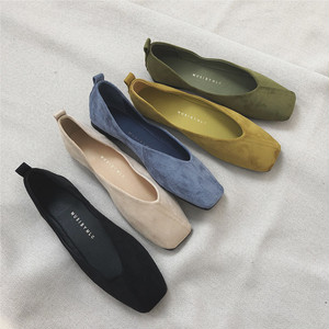5color : Diagonal Seam Suede Square Toe Soft Flat Shoes   92037 スクエアトゥ スエード パンプス