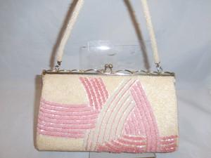ピンク濃淡波模様のビーズビィンテージバック bead vintage bag (made in Japan)(No26)