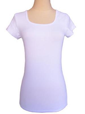 DUNIA 大人をきれいに見せるコットンライクラTシャツ ホワイト