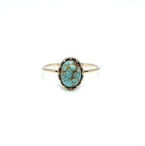 granulation 8×6 gem ring - Turquoise