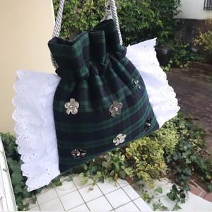 emiumigumi  緑の妖精きんちゃくバッグ