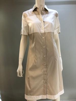 ZANETTI 1965 ITALY ZQ3587/K20711 Col.801(B.White) 綿サテンストレッチ半袖ワンピース ルーマニア製