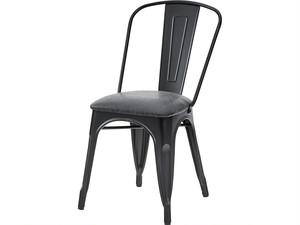 スチール脚レザーチェア(椅子)BK