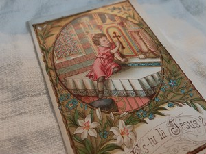 FRANCE 1900's antique Holy card