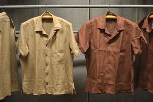 INDIVIDUALIZED SHIRTS リネン100% オープンカラーシャツ半袖