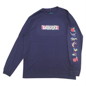 SAIKICKS SP BINGATA BOX LOGO L/S Tシャツ サイキックス 紅型 ボックスロゴ ロンT ネイビー