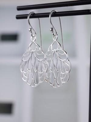 【現品限り】Open Work Feather Hook Earrings / Silver - 018