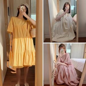 レディース ティアードワンピース フレアワンピース ハイウエスト ダボダボ 韓国ファッション / Loose french retro dress (DCT-597669696197)