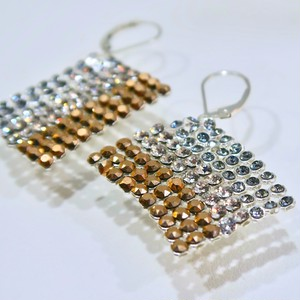 SQUARE  THREE COLOR  EARRINGS   S