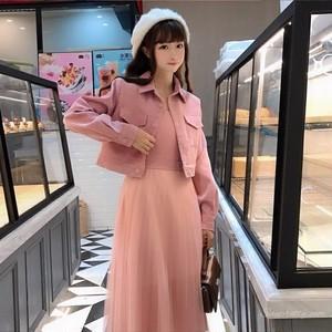 【セットアップ】日系スウィートカーディガン+Aラインワンピース二点セット
