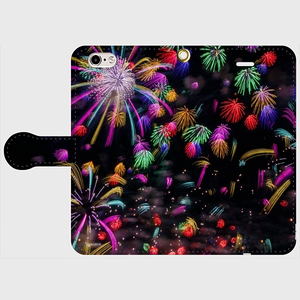 (iPhone6/6sサイズ)手帳タイプ:花火の宇宙(KAGAYA)