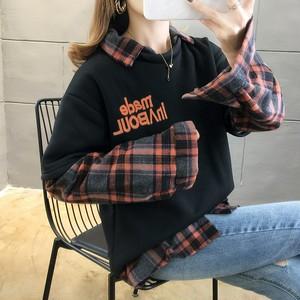 【トップス】ファッションカジュアル長袖切り替えプリントショート丈折襟プルオーバーチェック柄配色パーカー