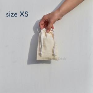 【size XS, Natural Cotton Drawstring Bag】ナチュラル オーガニック コットン 100% の シンプルな 巾着袋 【 XS サイズ 】きんちゃく きなり