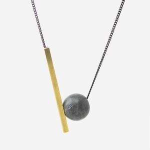 BAZK Sphere Stone Black Chain Necklace スフィア ストーン ブラック チェーン ネックレス メンズ レディース ユニセックス ショート〜ロング 〈送料無料〉ダークグレー