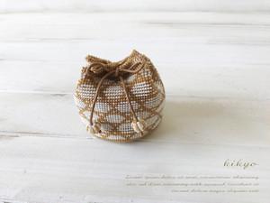和柄がかわいい ミニミニビーズ編み巾着(かごめ柄)