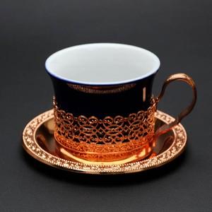 昭和レトロ EMERALD 陶器カップ・銅仕上げ カップ&ソーサー (355)