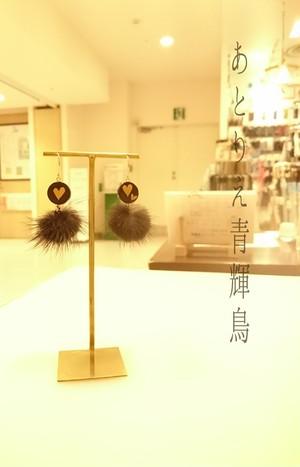 天然石(オニキス)蒔絵イヤリング/ピアス 大