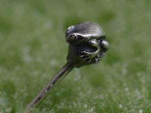 きっと世界で一番小さいカエルピアス よく見たらカエルピアス