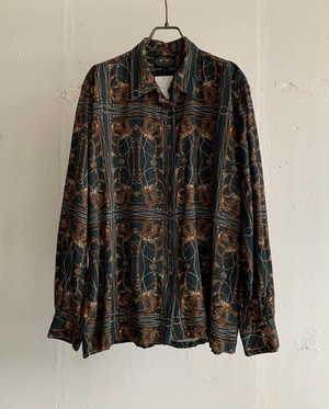 """British Khaki"" vintage paisley blouse"