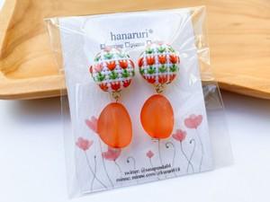 【hanaruri*】90カラフルビーンズイヤリング(オレンジ)