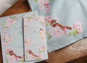 桜に雀 ギフトセット(ハンカチ&便箋・一筆箋)