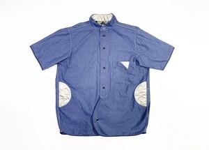 19SS 綿麻タイプライターバンドカラー半袖シャツ / Cotton linen type writer band collar half sleeve shirts